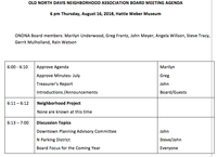 Agenda for the August 16th ONDNA Board Meeting