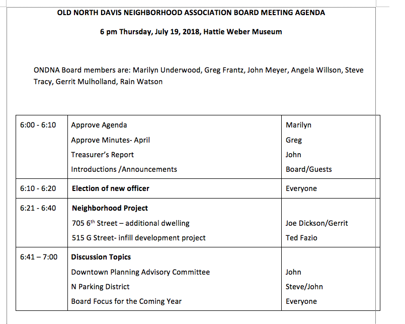 Agenda for the July 19, 2018 ONDNA Board Meeting