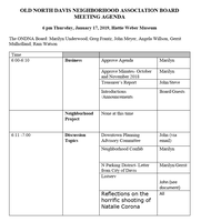 Agenda, January 19th Meeting of the ONDNA Board of Directors
