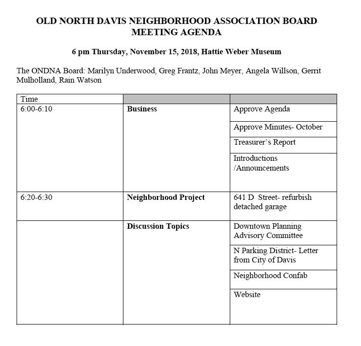 ONDNA Board Meeting Agenda for November 15, 2018