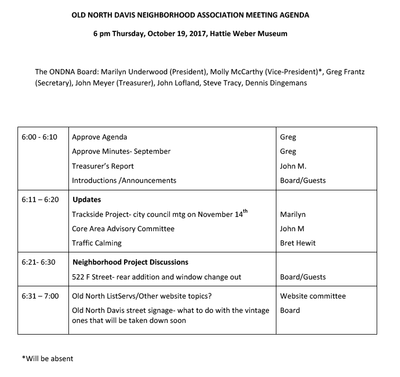 October 19, 2017 ONDNA Agenda